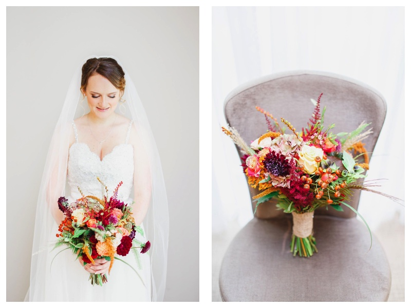 Autumnal bridal bouquet with dahlias, astilbe, roses & seed heads