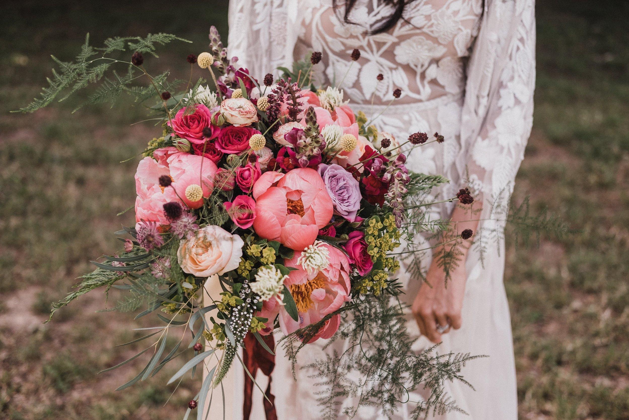Wild, romantic bridal bouquet at Lila's Wood, hertfordshire