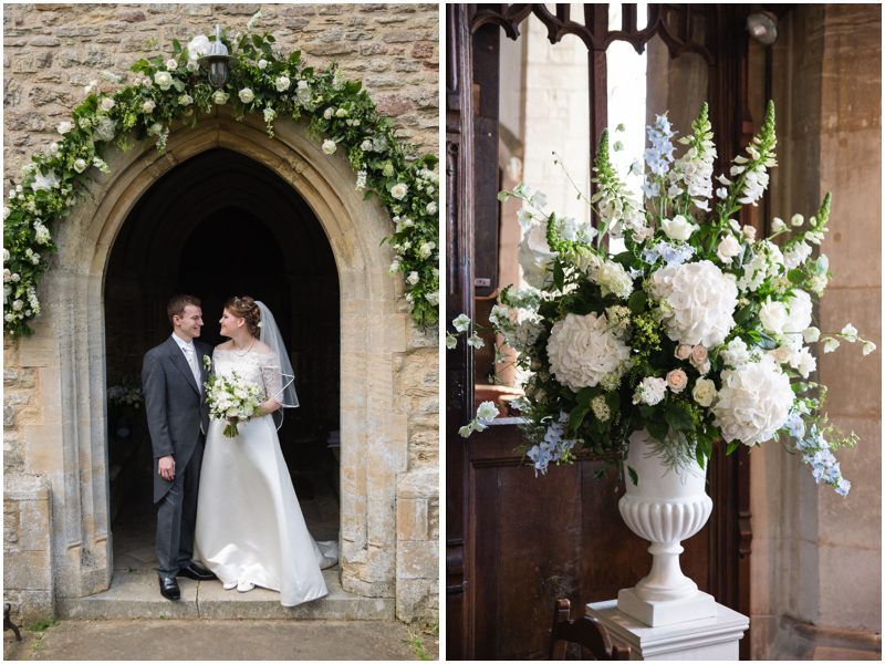 Floral church arch and pedestal for all white summer wedding