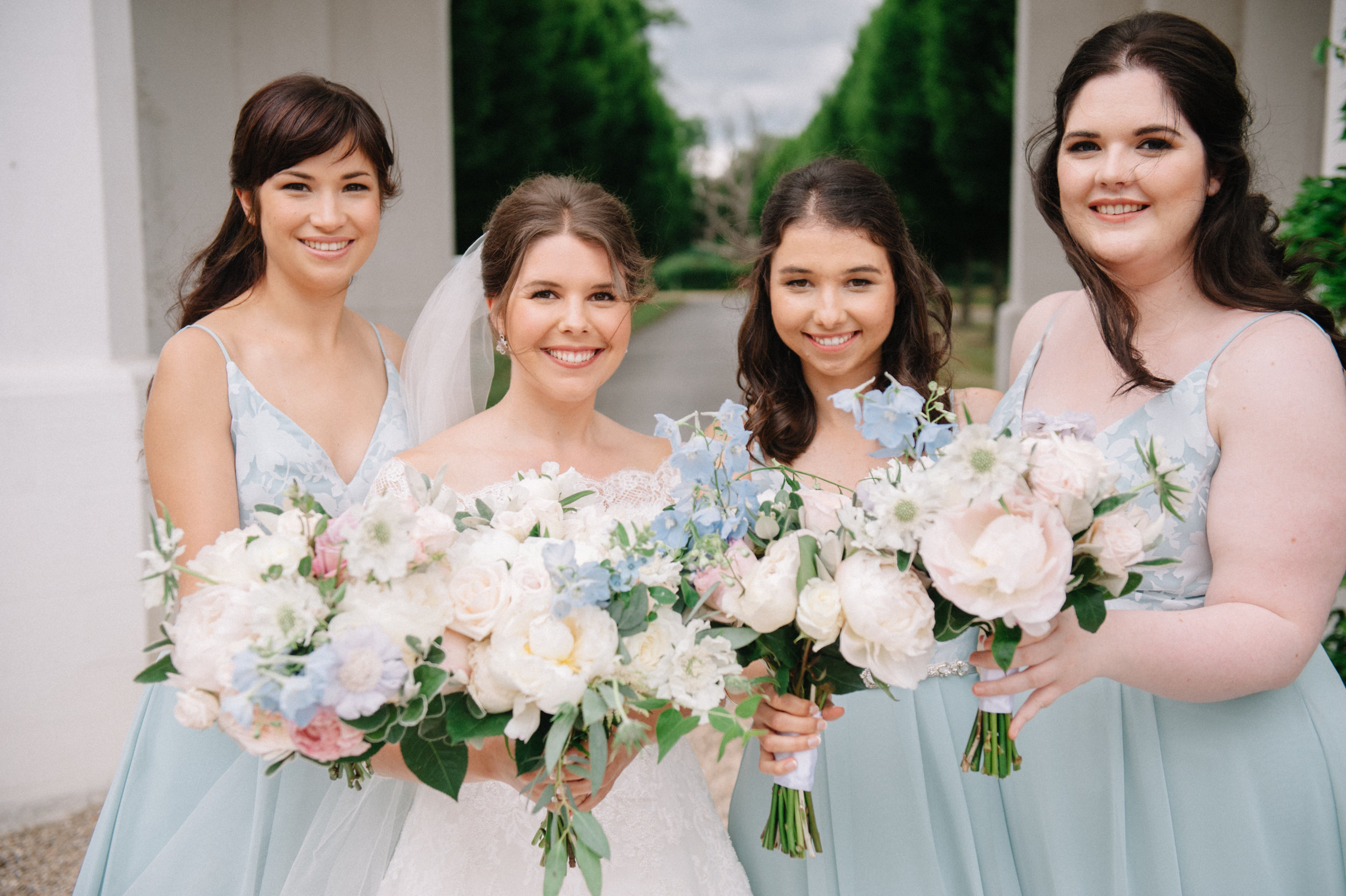 Summer wedding in white and soft blue at Danesfield House, Buckinghamshire