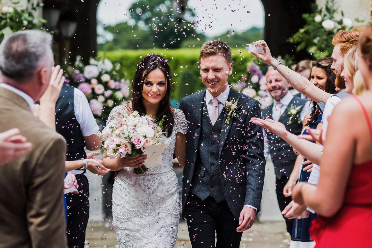 Outdoor summer wedding ceremony, Falsely Hall, Northamptonshire