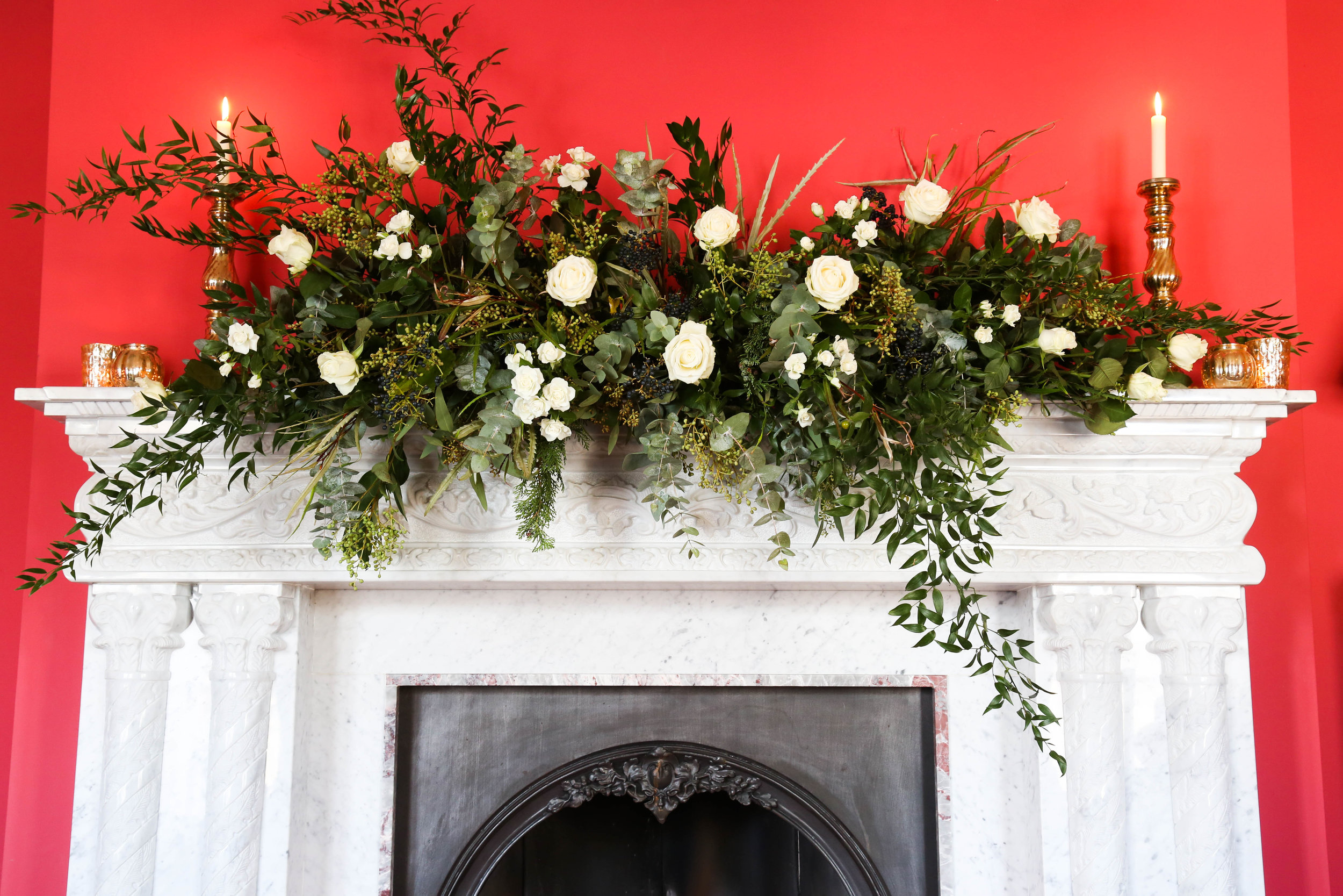 Festive fireplace garland