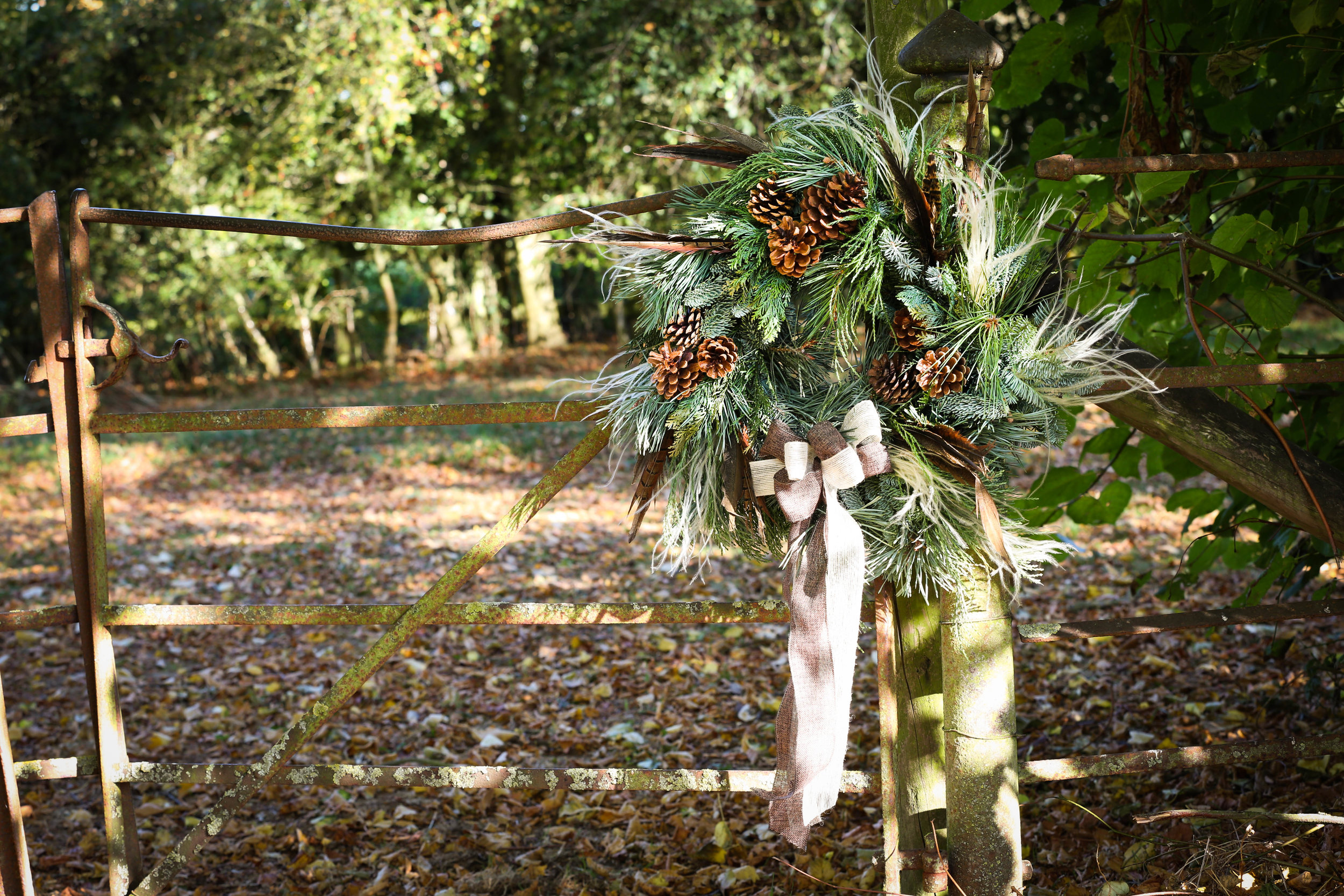 Christmas wreath with pheasant feathers