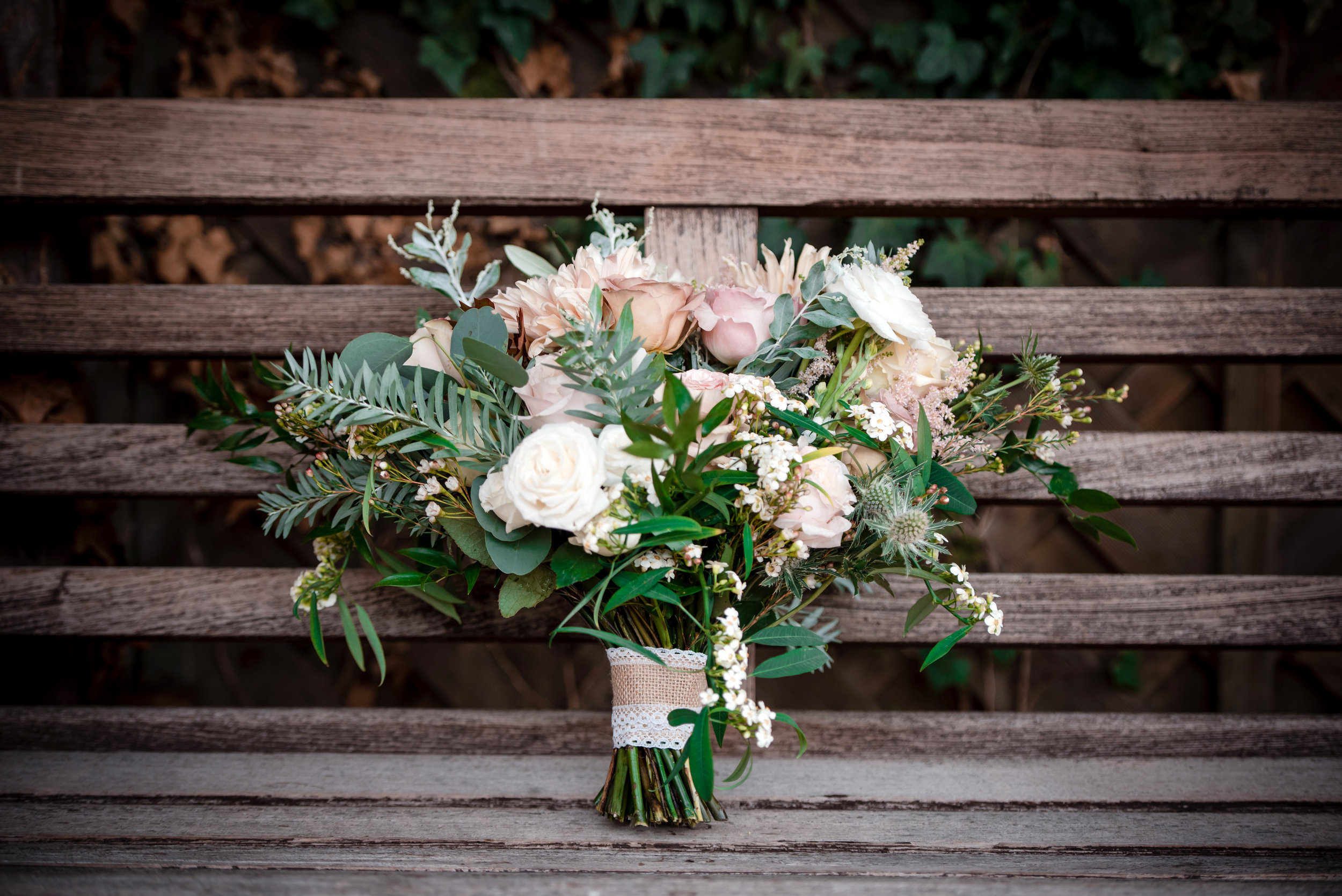 bridal bouquet with blush and antique roses