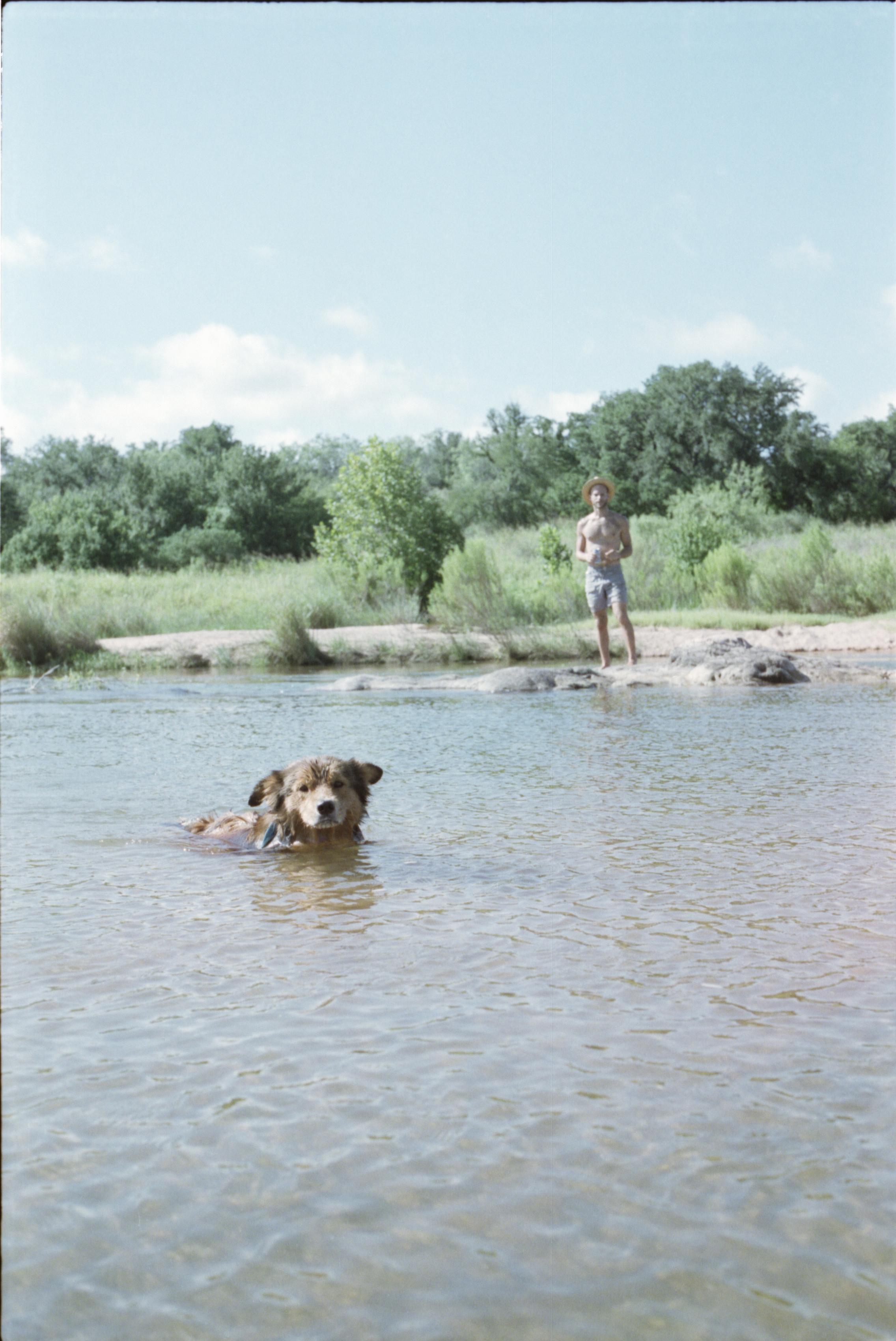 llano river texas camping swim swimming film 35mm pawlowski america yall whatley dog