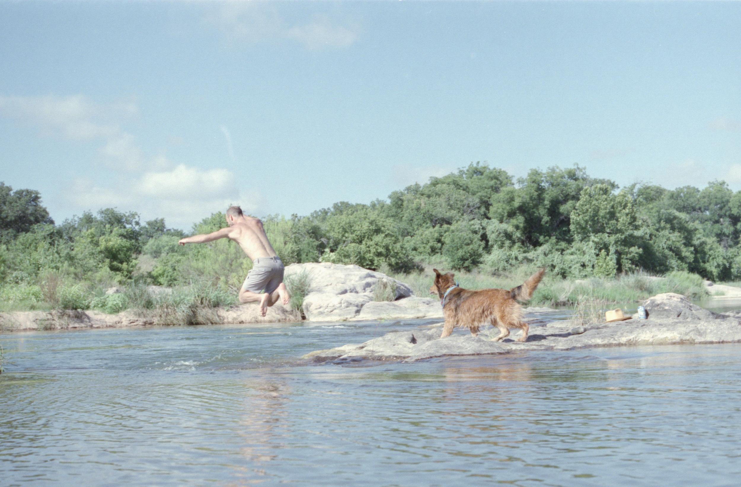 llano river swimming texas swim camping dog water 35mm