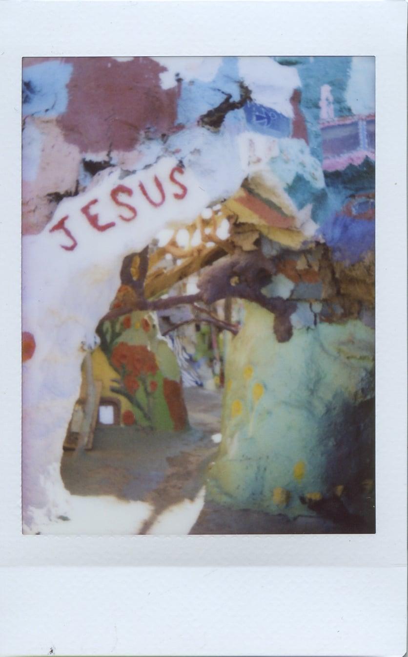 fuji instax salvation mountain california joshua tree jesus