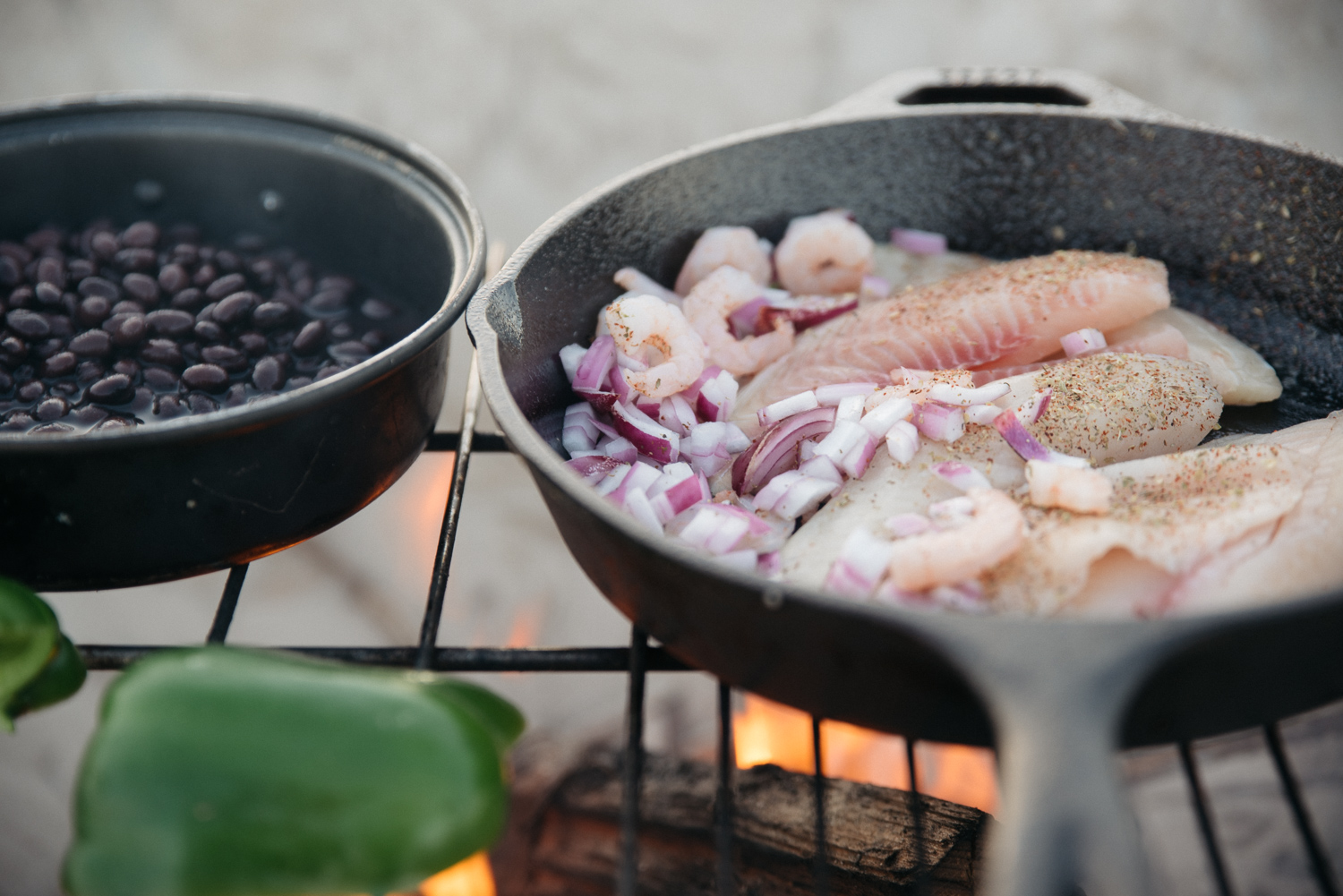 tilapia onions pepper beans texas beach food cooking
