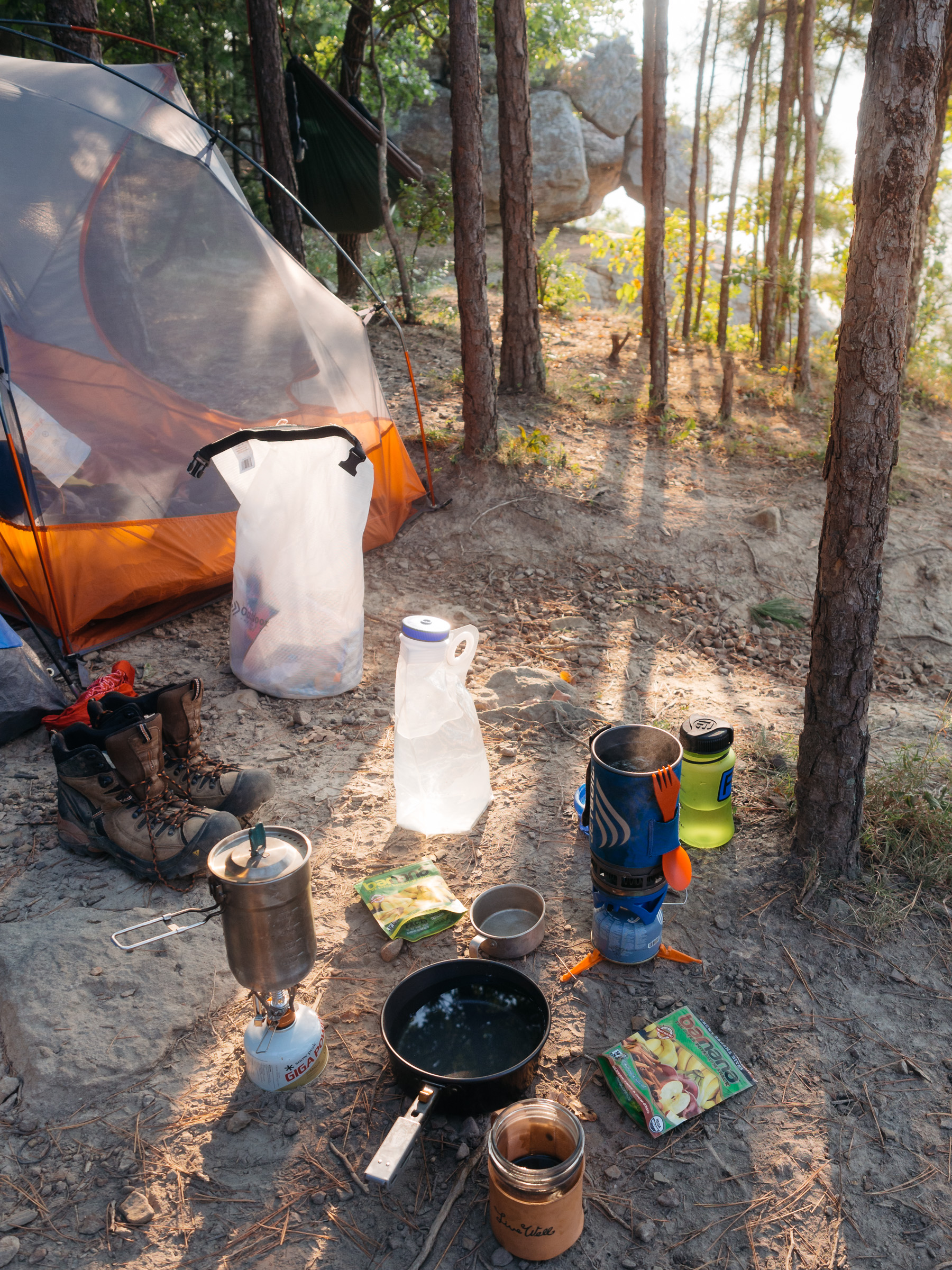 Barnana an all natural trail snack asked us to take a photo in a natural camp setting to be posted on their social media channels.
