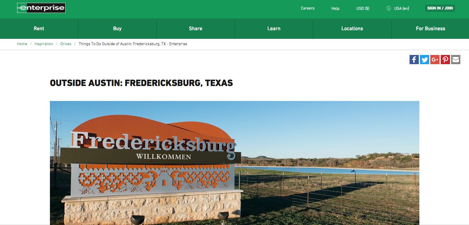 Enterprise Rental Cars - Online - Photos and day trip report on Fredricksburg, TX