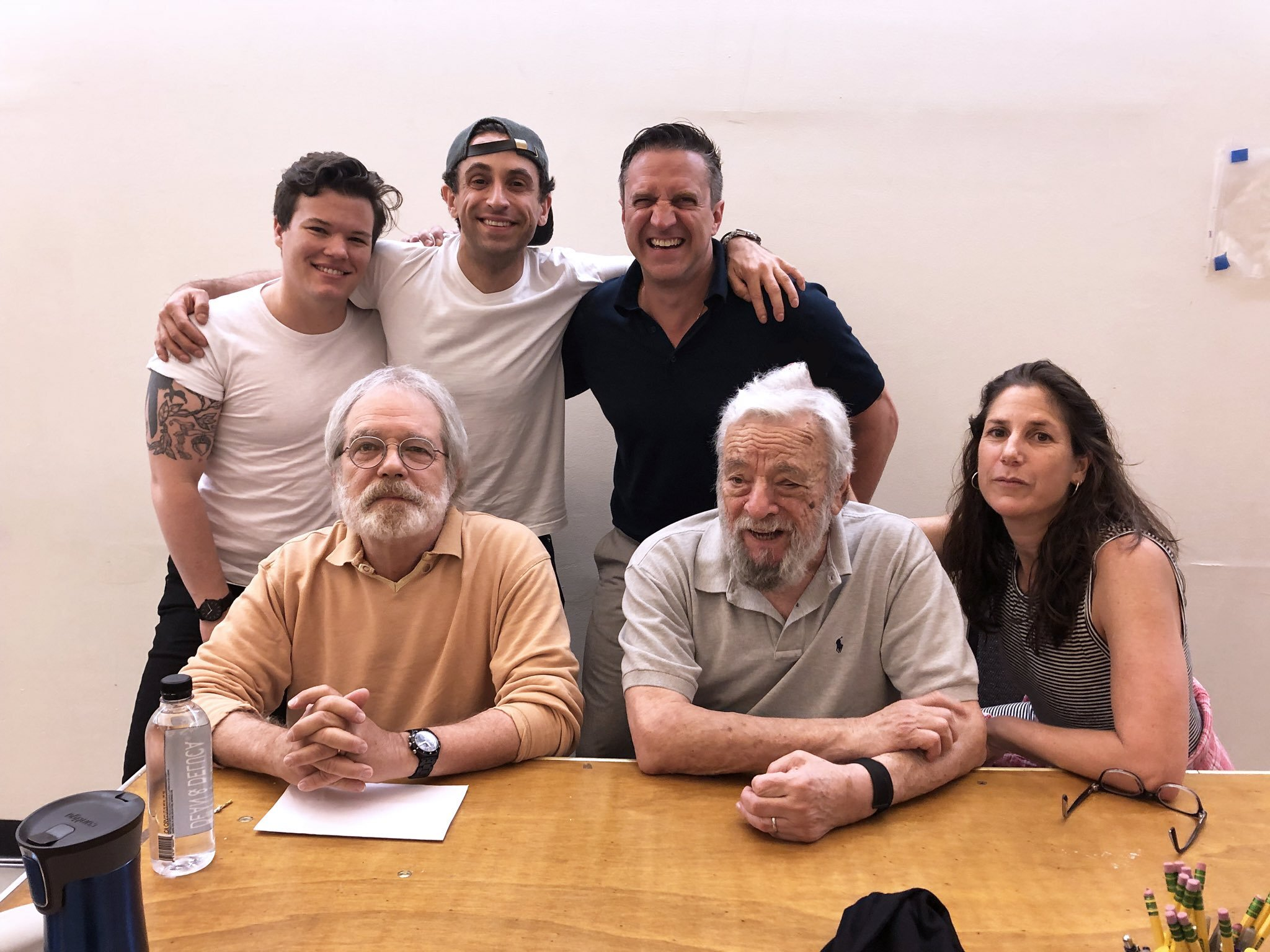 Captured a rare photo of Stephen Sondheim smiling along with members of the cast and creative team for Encores! Off-Center Road Show