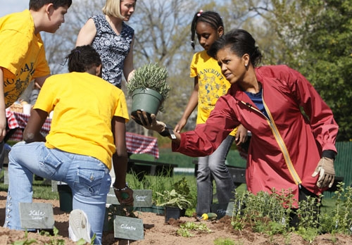 """Seriously: google images of """"Michelle Obama gardening,"""" and marvel at her strength and beauty and authenticity."""