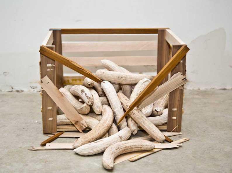 Banana crate, 2014  Plaster, wood, staples  10 x 9 x 13 in