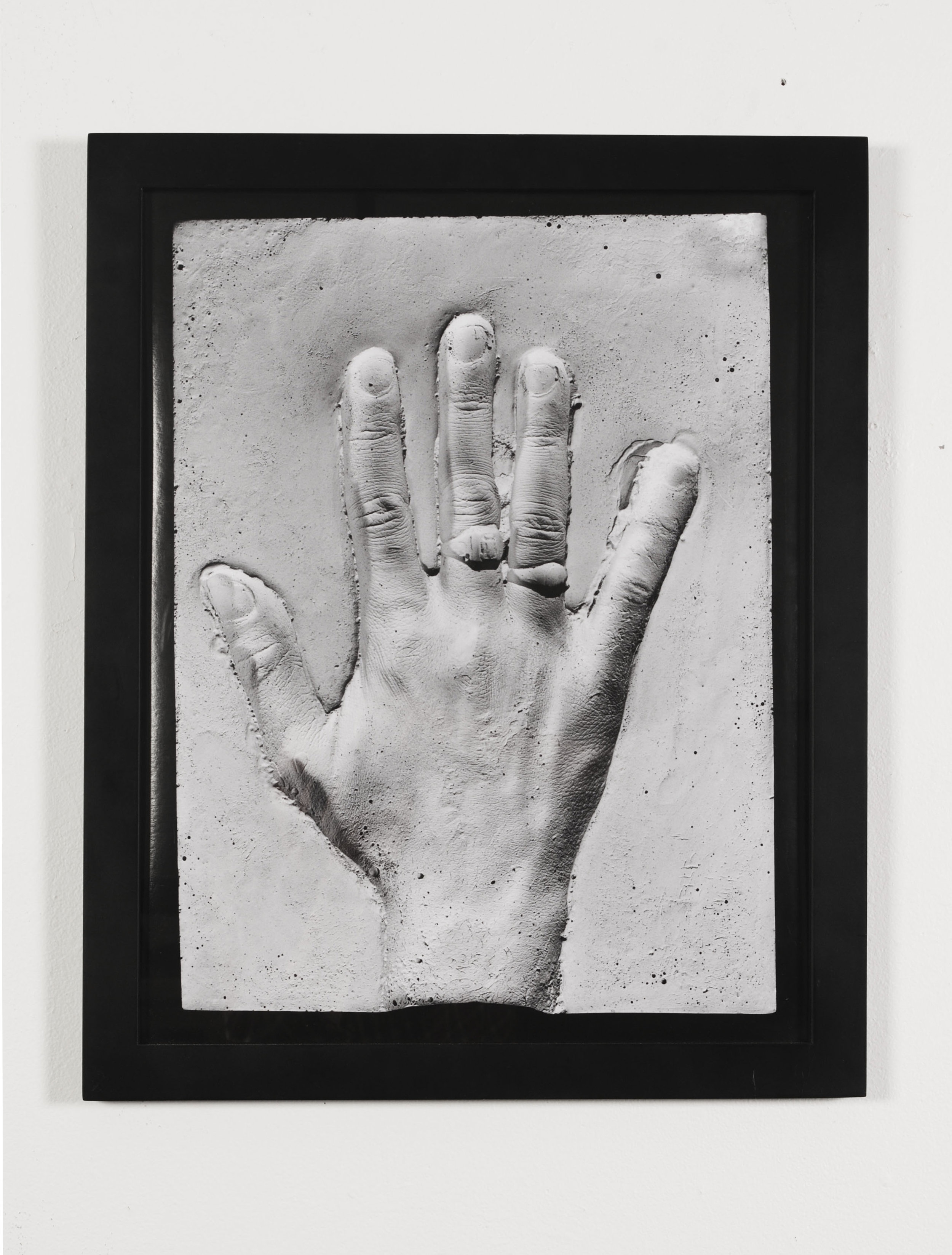 Left back hand with ring mold , 2013  Inkjet photograph of plaster mold  24 x 20 inches