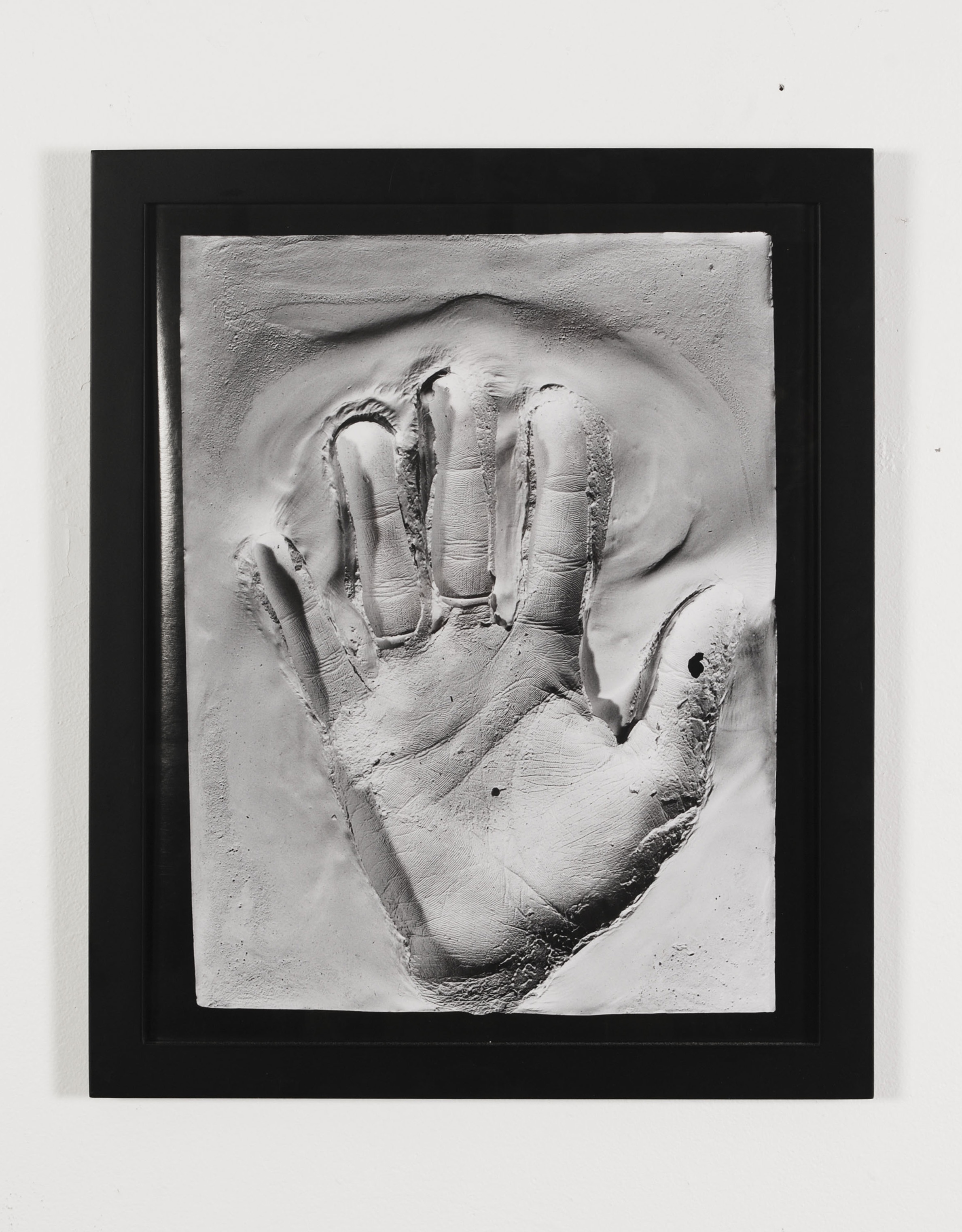 Left hand palm mold , 2013  Inkjet photograph of plaster mold  20 x 24 inches