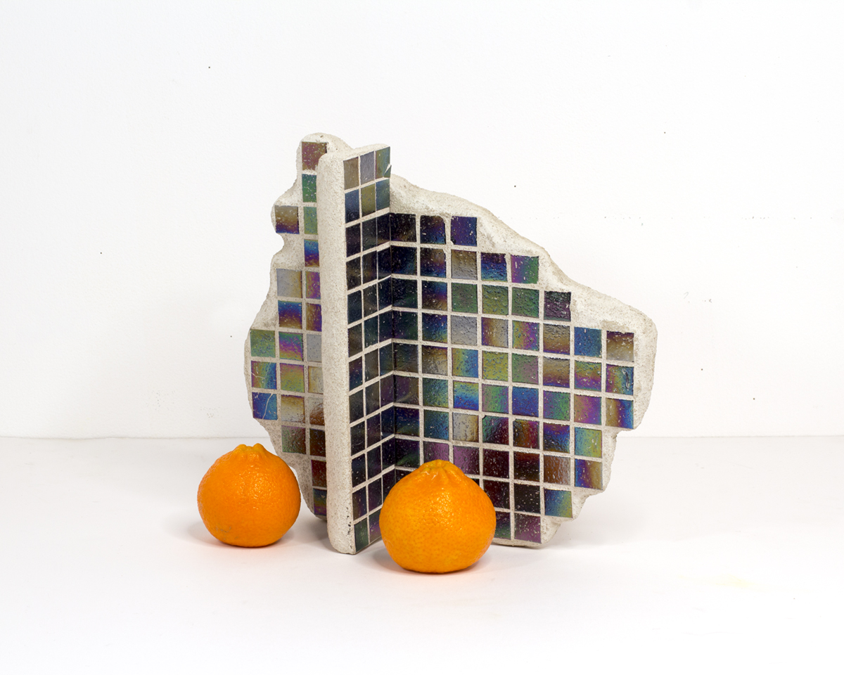 Tiles and Clementines, 2017  Tiles, concrete, stone, clementines, ink  11 x 5 x 11 in
