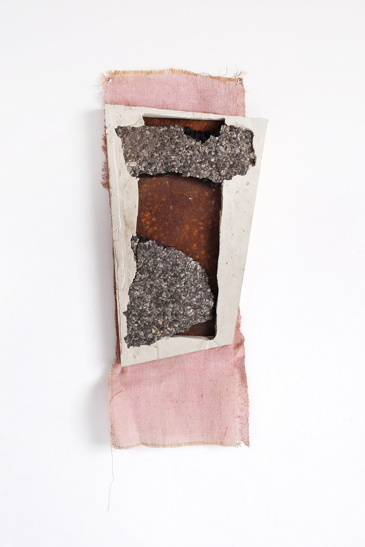 Pink,  2018  Concrete, asphalt, steel, painted burlap  14 x 2 x 31 in