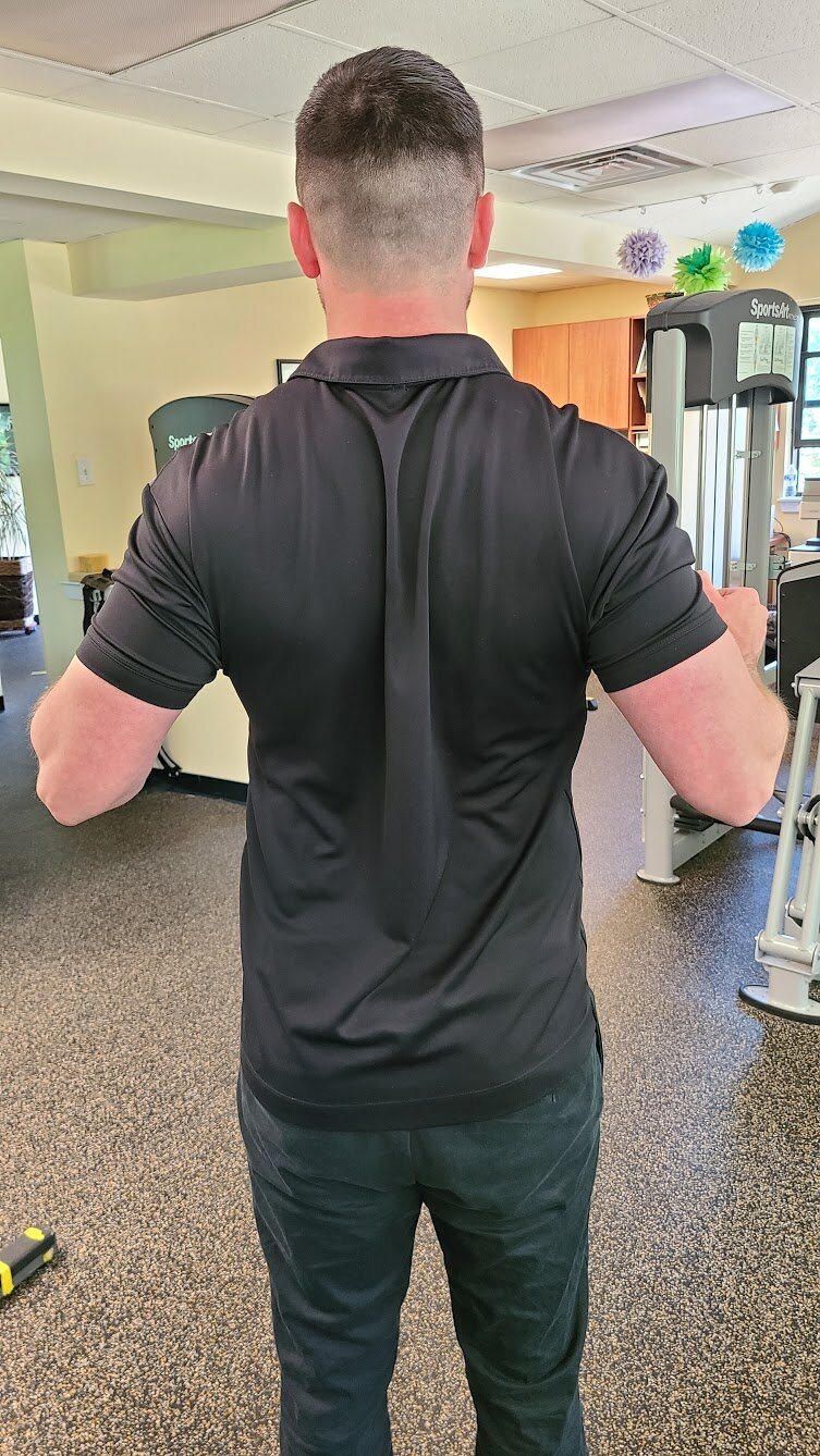 Scap Sets   Sitting or standing upright, squeeze your shoulder blades together. Pretend you are holding a pencil between your shoulder blades. Pay attention to not hike the shoulders up. Hold 10 seconds, perform 10 times.