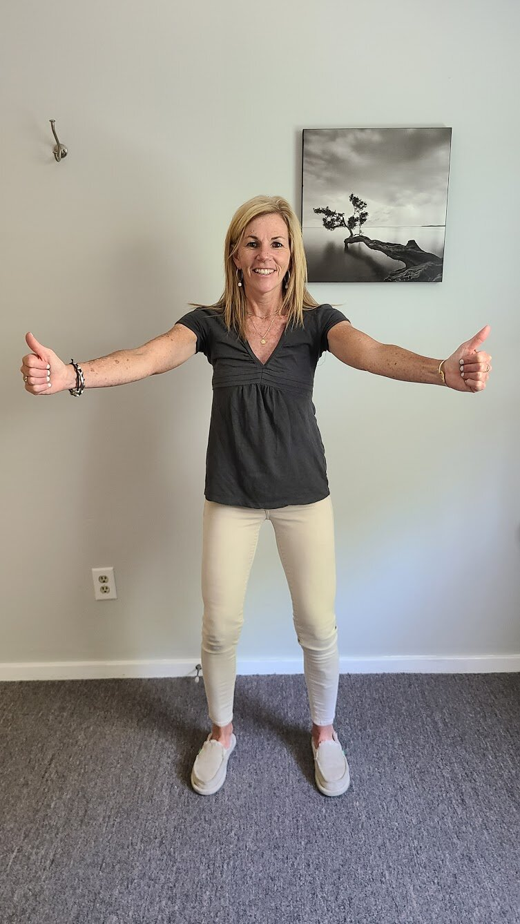 Arm Raises   Standing with your arms at your side and shoulder blades squeezed together, slowly raise your arms straight up in the air at a 45 degree angle (halfway between straight to the side and straight in front). Stop at shoulder height and return to starting position. Perform 21 repetitions.