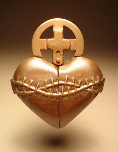 Sacred Heart Rosary Ring Reliquary