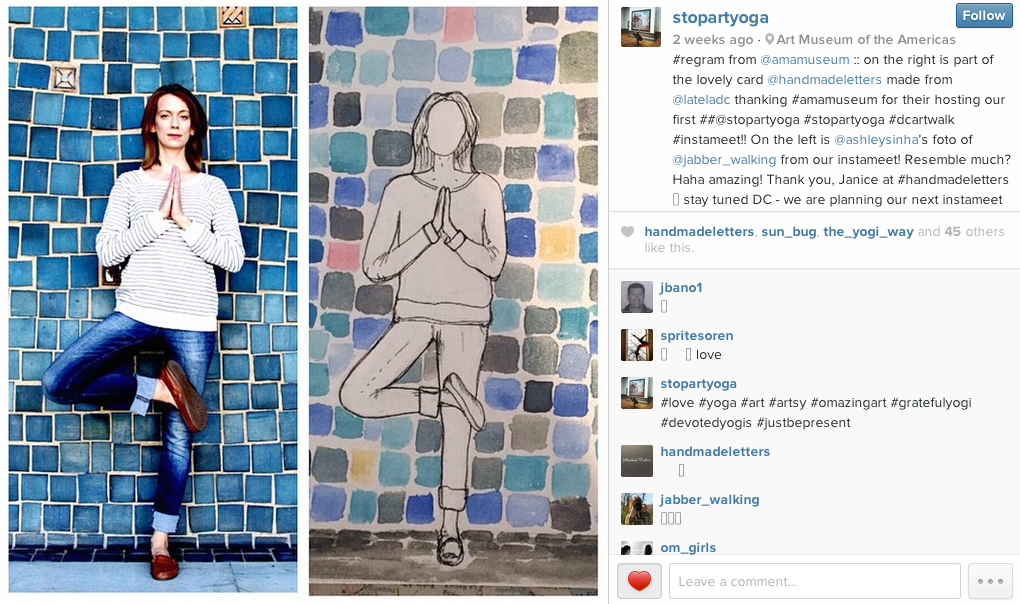 Instagram post of the my letterby Marta Staudinger of Latela DC (    @StopArtYoga     and  @lateladc )