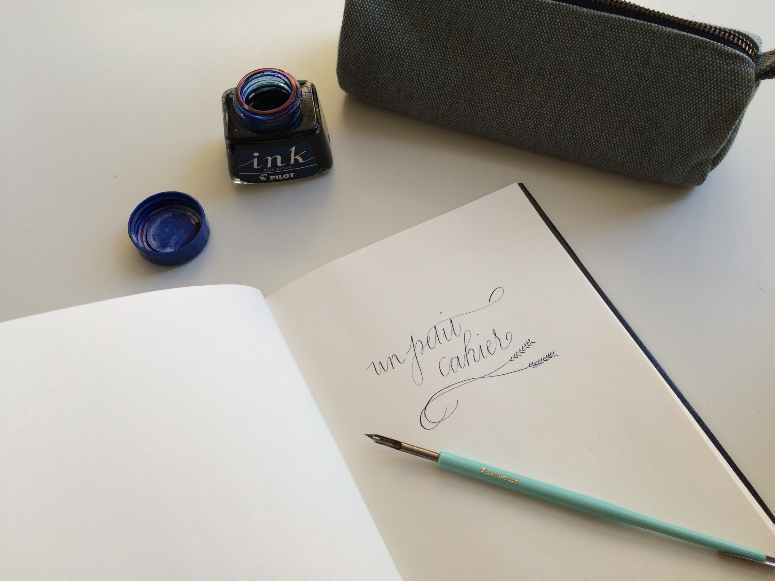 Trying out the blue-black ink with the new mapping quill nib.