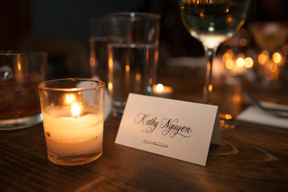 Place setting for one of the dinner guests.