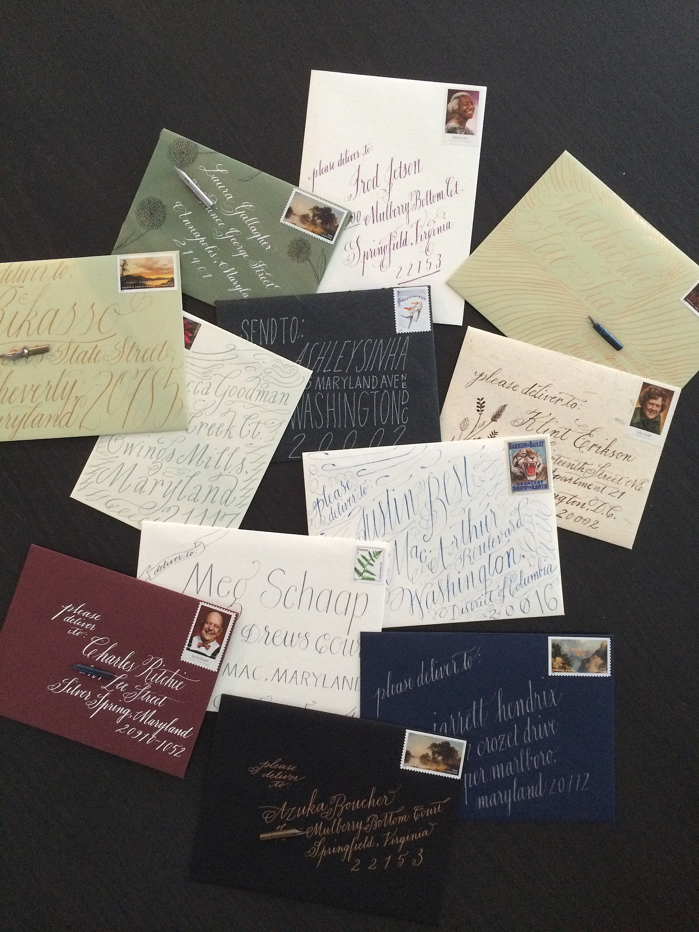 An array of thank you letters commissioned by Latela DC and custom made by Handmade Letters.