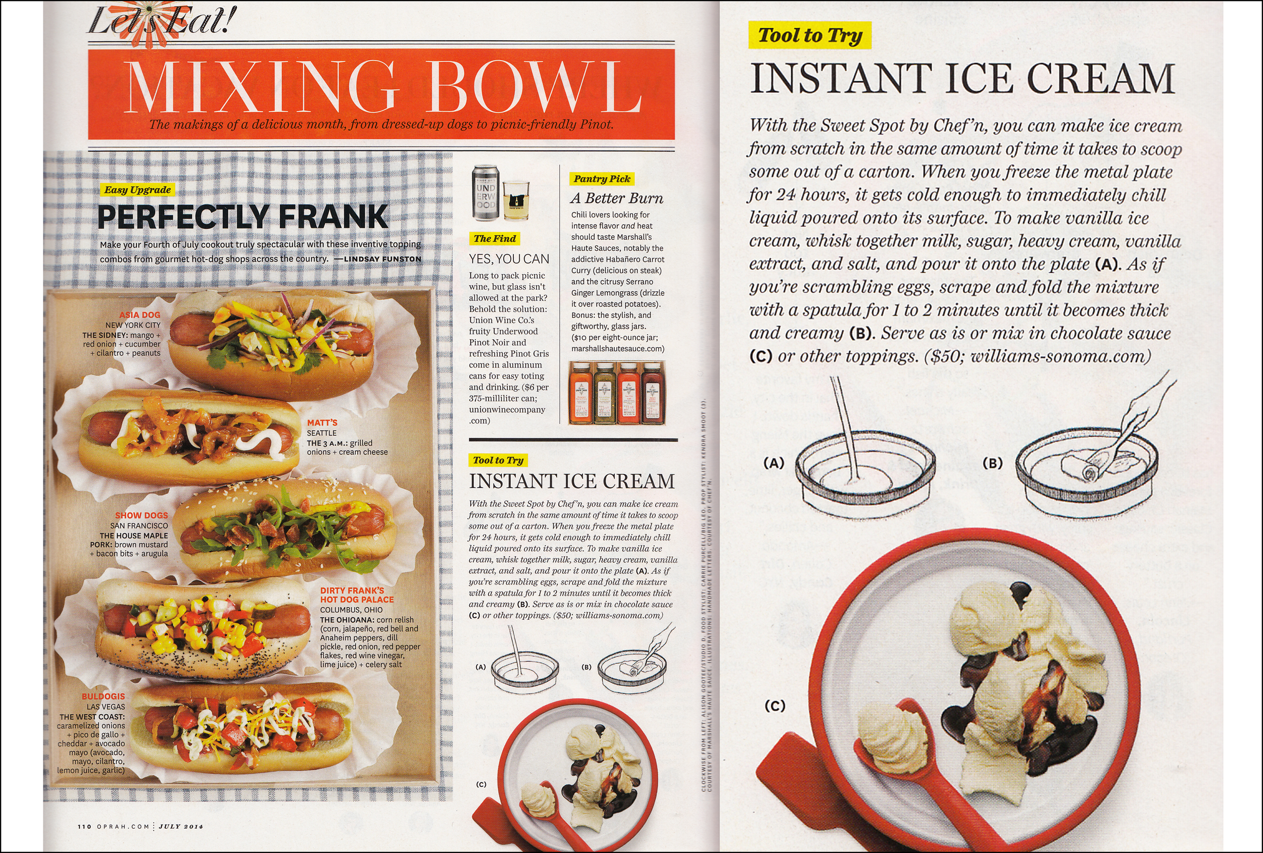 O, The Oprah Magazine, July 2014, Instant ice cream spot feature