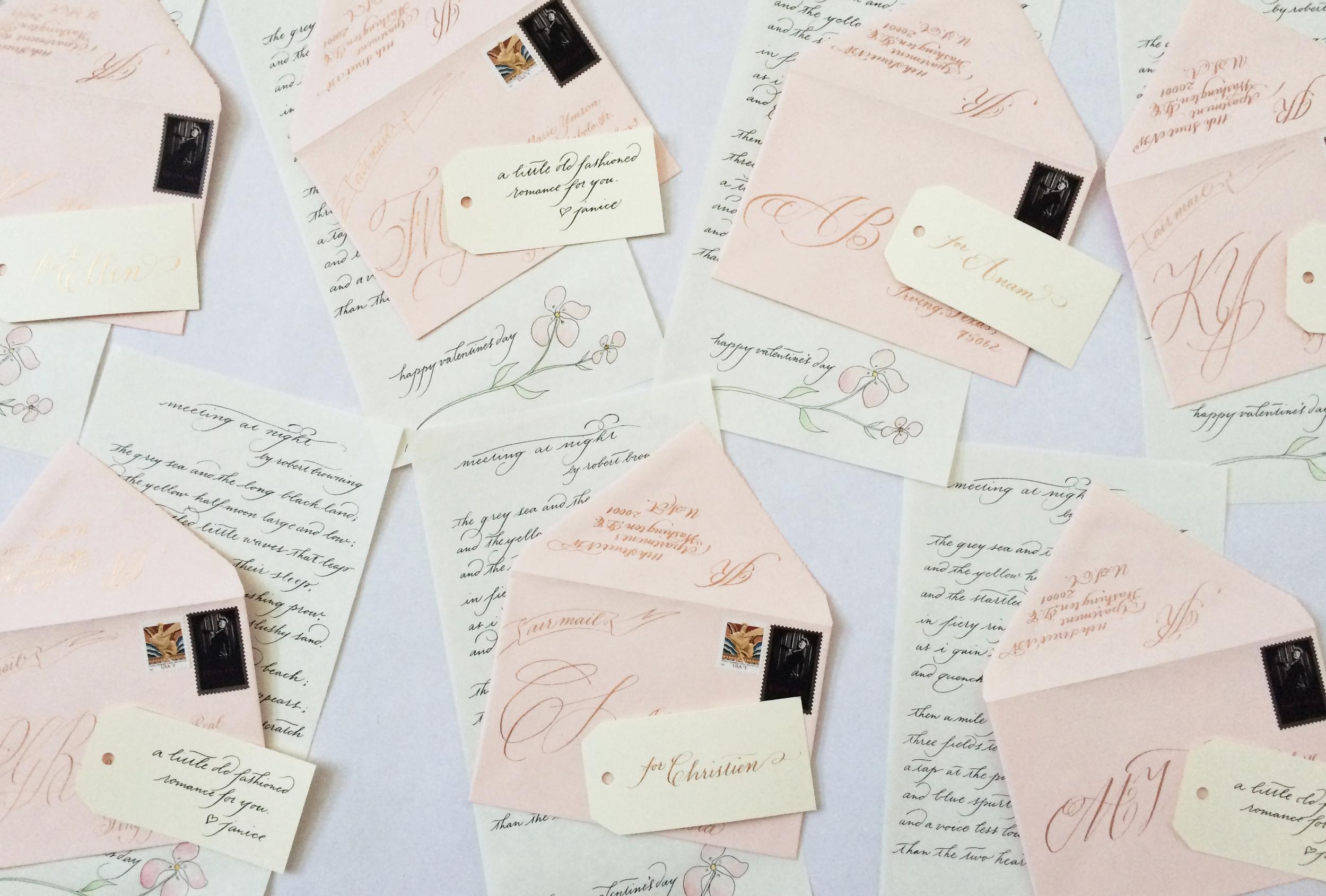 Meeting at Night , a poem   by Robert Browning and its accompanying envelopes.