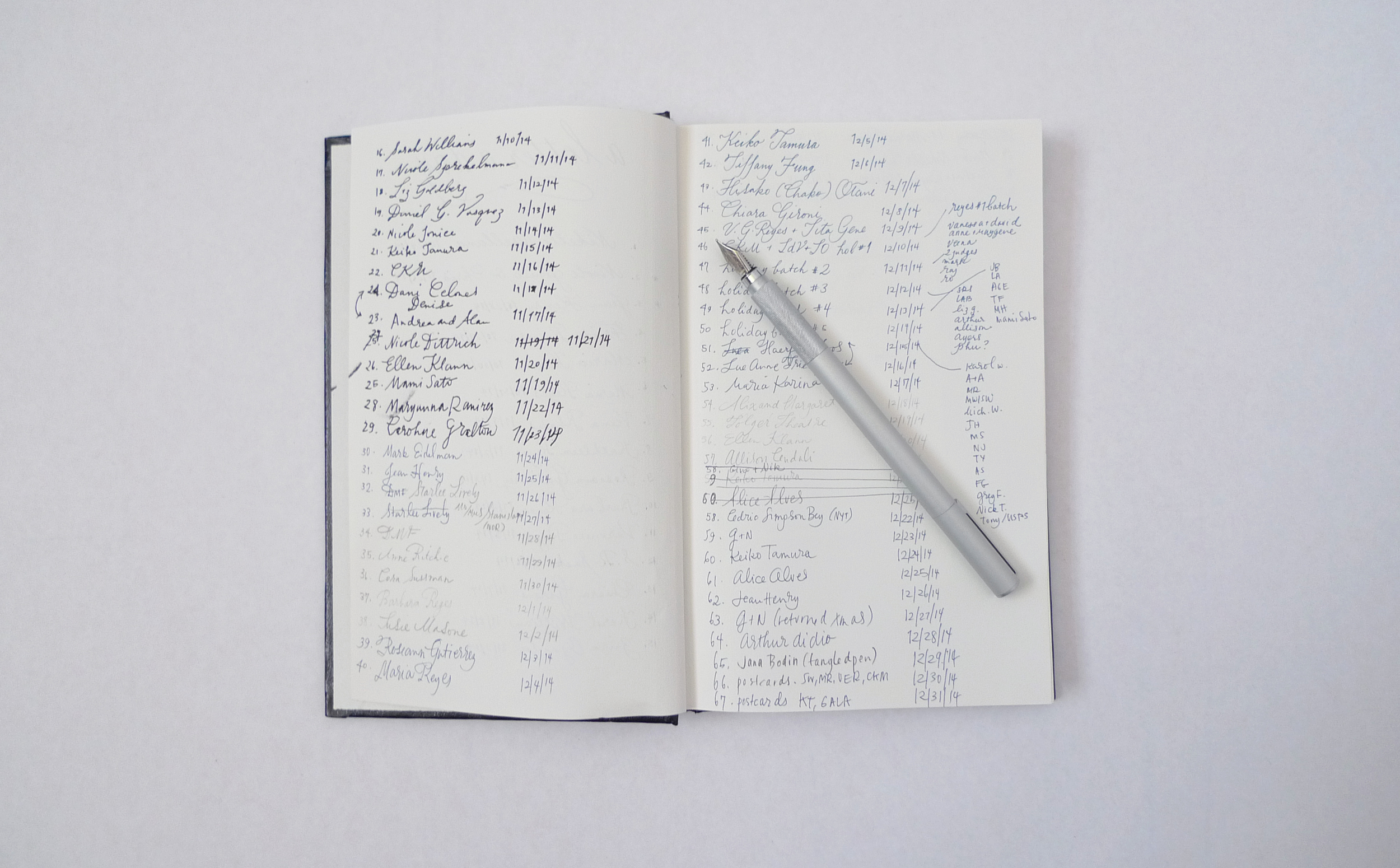 The second and third pages of my log, slowly becoming a mess.