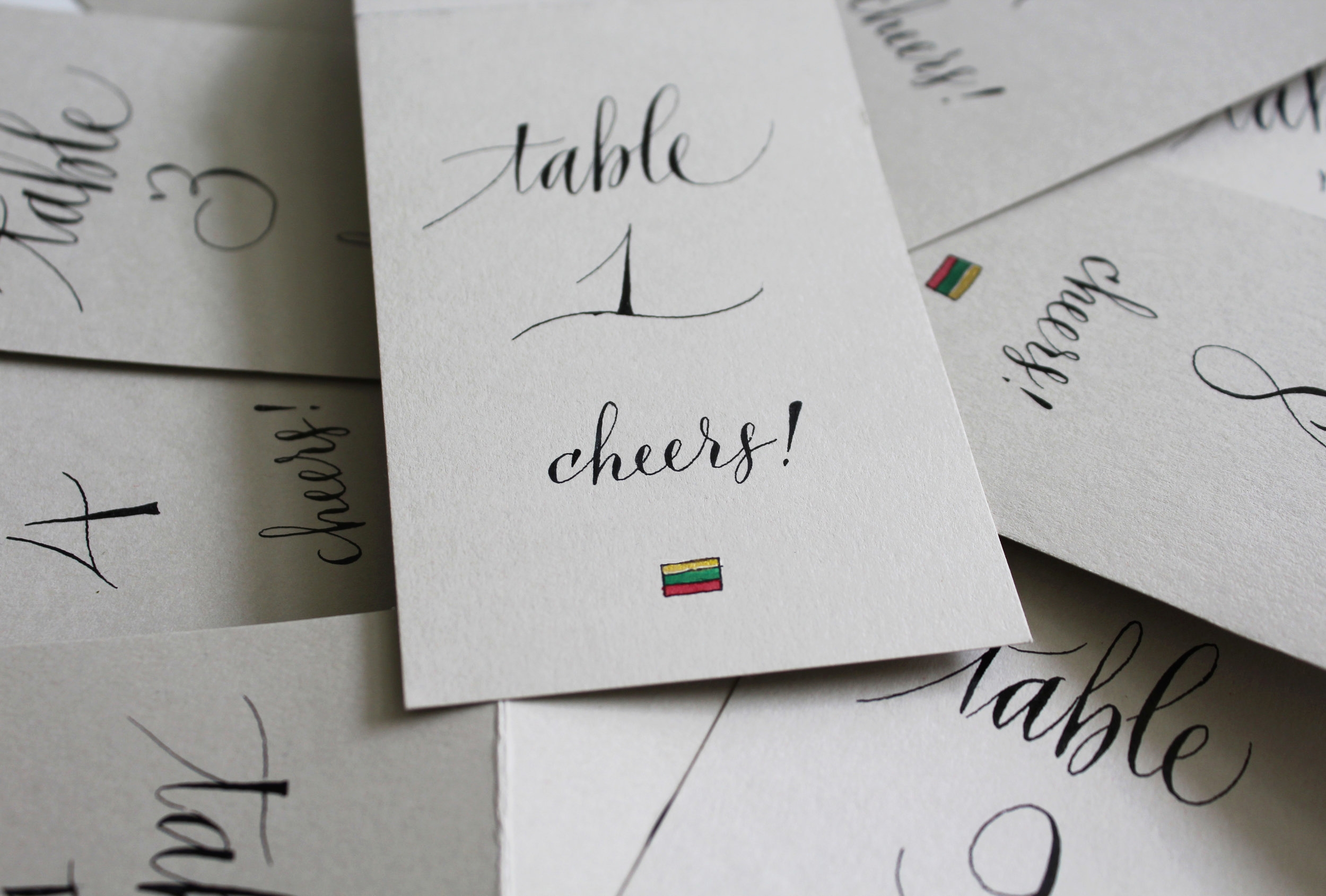 Finished table cards for a Lithuanian wedding.