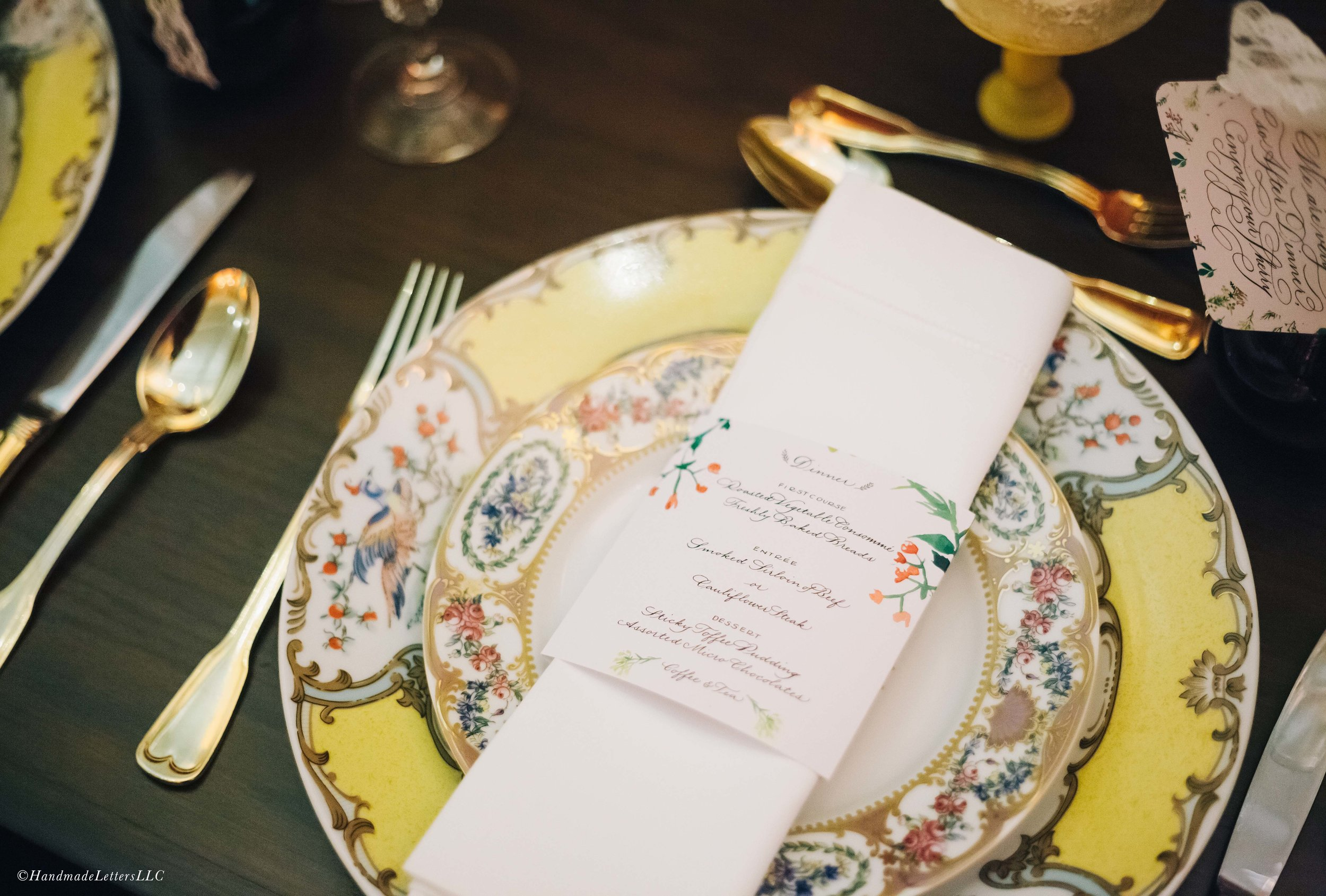 Handmade Letters - Calligraphed menu for Top Nosh DC presented by Taylor & Hov Events. Photo courtesy of Erika Layne.