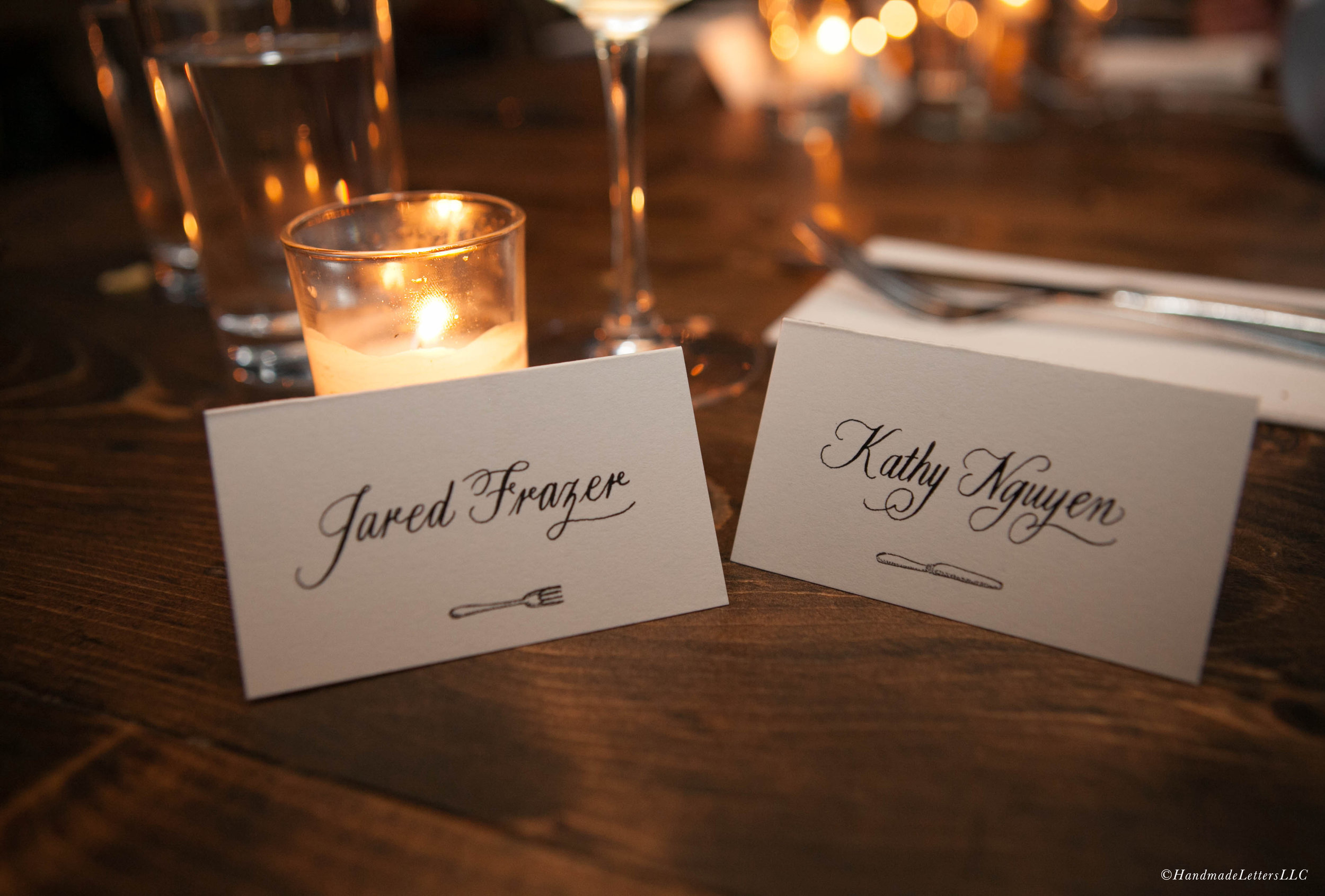 Handmade Letters - Calligraphed dinner cards. Photo courtesy of Leslie dela Vega.
