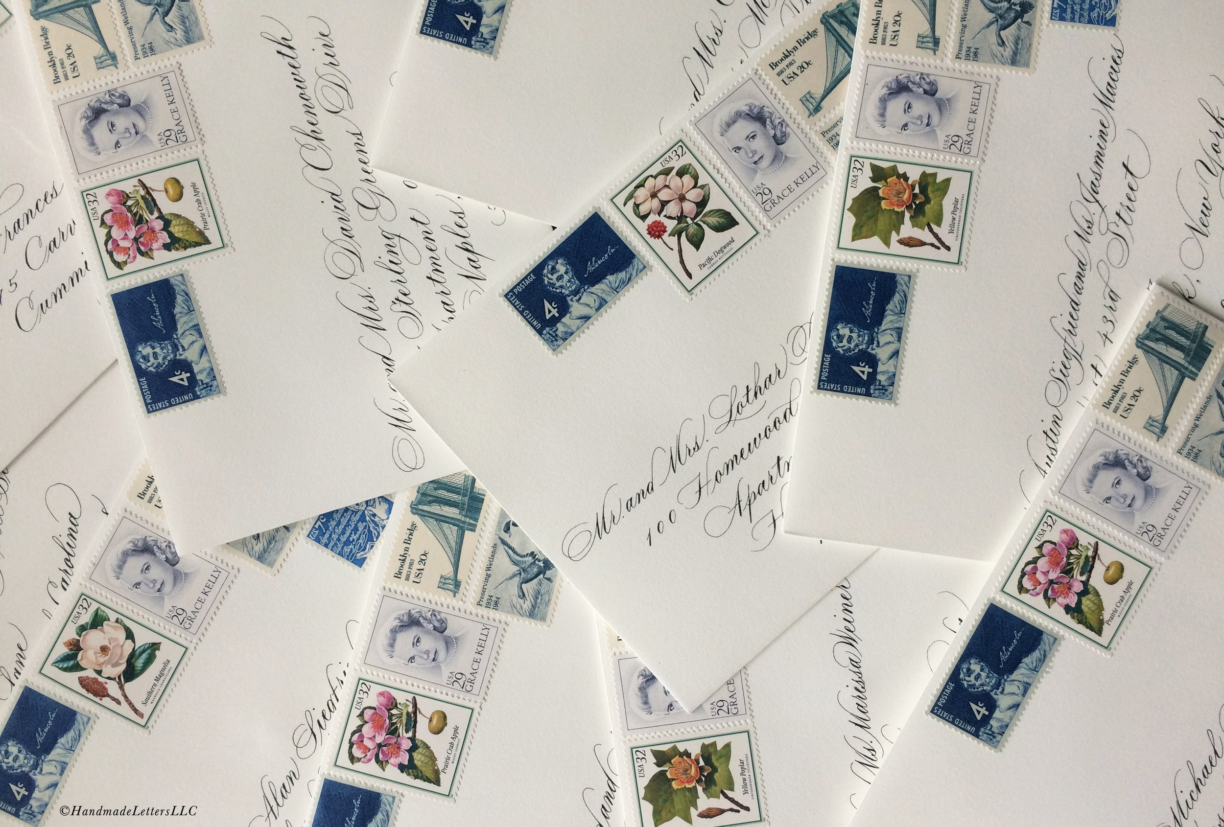 Handmade Letters - Wedding Envelopes with Vintage Stamps