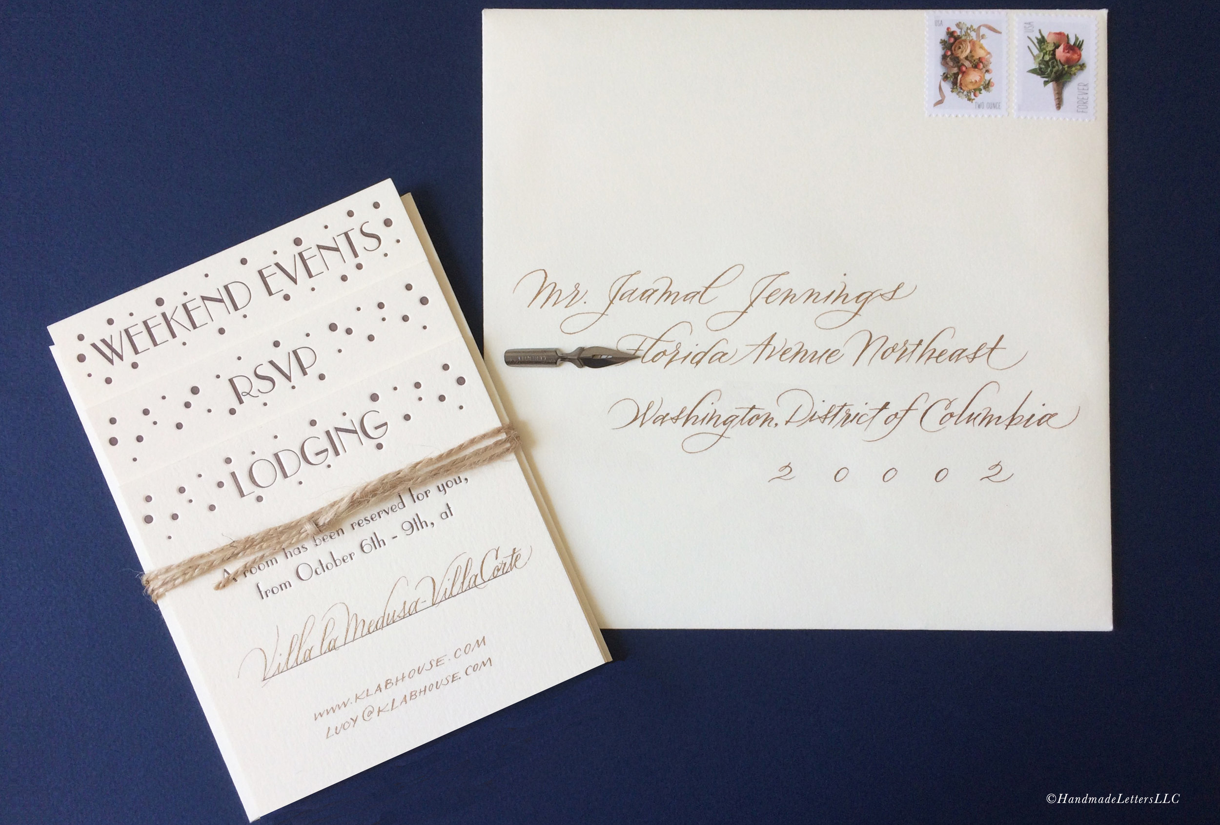 Handmade Letters - Wedding Envelopes in Modern Italic
