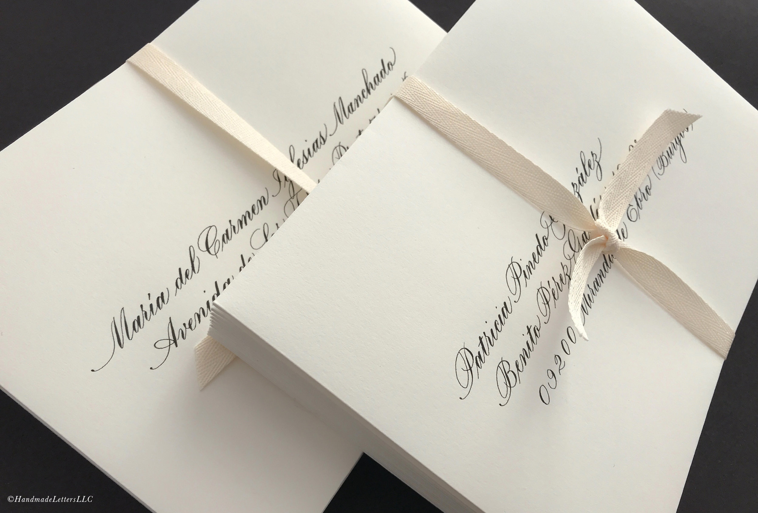 Handmade Letters - Wedding Envelopes in Classic Copperplate
