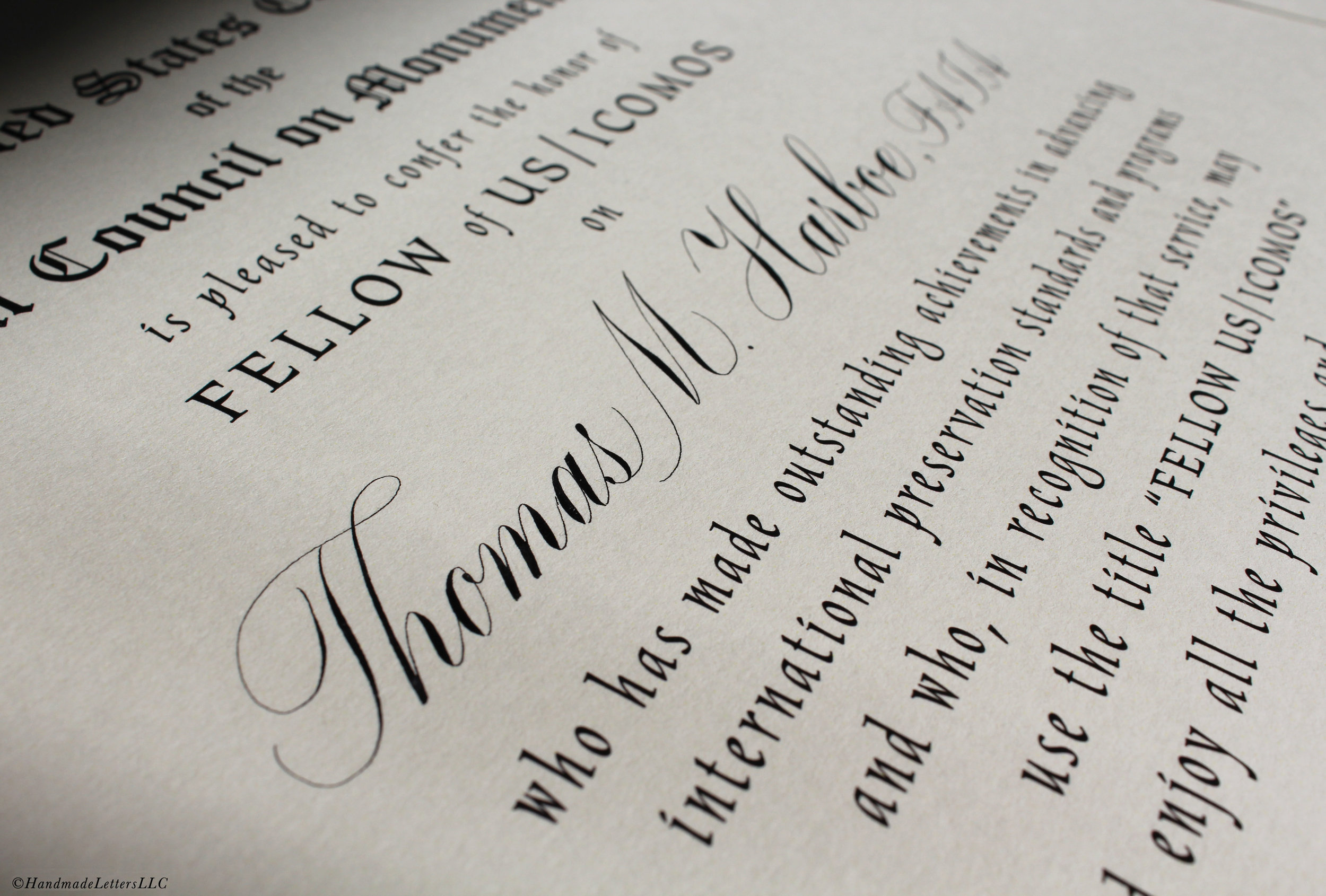Handmade Letters - Certificate Calligraphy