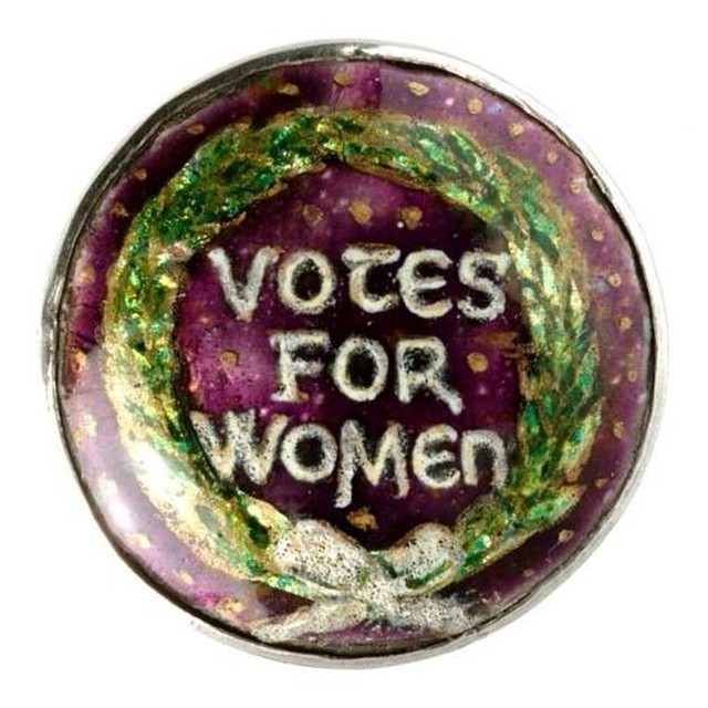 "Jewelry Photos: 1908-12 ""Votes for Women"" enameled brooch in Suffragette colors made by the artist and enamelist Ernestine Mills."