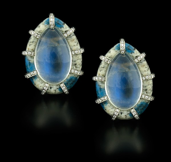 Nicholas Varney Blue Moonstone and Diamond Earrings:Surrounded by K2, 48 carats Blue Moonstone, 0.60 carats Diamonds. 18K yellow Gold.