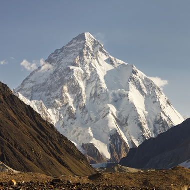 A view of K2, also known as Mount Godwin Austen, in the morning sun. With a summit elevation of 8,611 meters, K2 is the second-highest mountain in the world after Mount Everest (8,848 meters), and ahead of Kangchenjunga (8,586 meters). Image © iStockphoto and PatrickPoendl.
