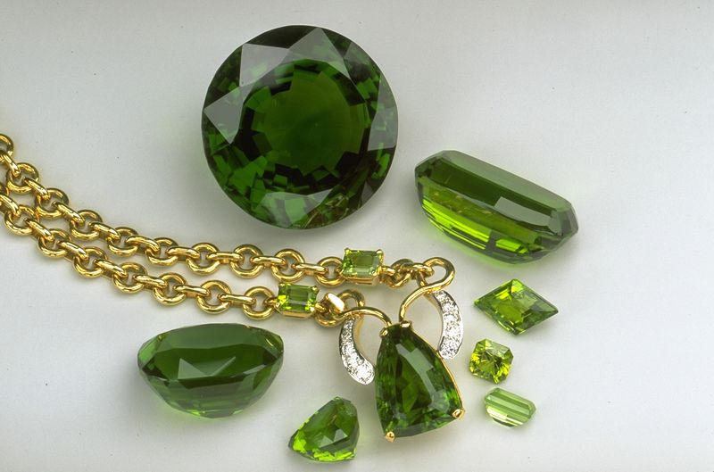 The largest cut peridot olivine is a 310 carat specimen in the Smithsonian Museum in Washington, D.C. Photo courtesy of the Smithsonian Museum