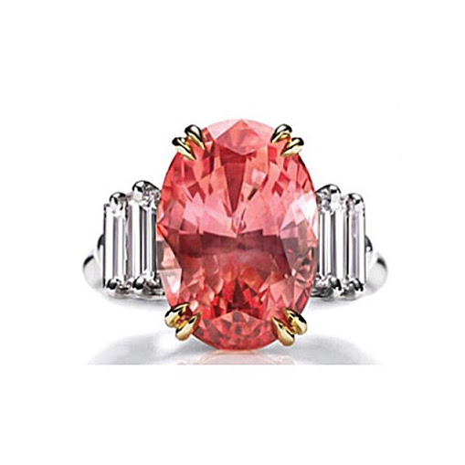 Sunset by Harry Winston, padparadscha sapphire and diamond ring.
