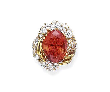In 2005, this 20.84-carat padparadscha sapphire fetched US$18,000 per carat at auction. Photo © 2005 Christie's Images Ltd.