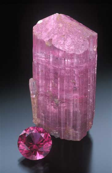Pink tourmaline from Pala Mountain, Stuart Mine, San Diego. (Photo: Jeff Scovil)