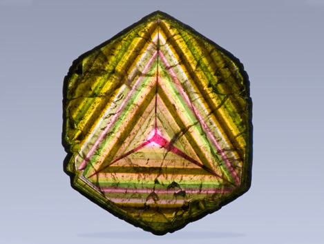 "Liddicoatite was first recognized as a separate mineral in 1977. The mineral was named in honor of Richard T. Liddicoat (March 2, 1917 – July 23, 2002), the second president of GIA who is often referred to as the ""Father of Modern Gemology."" Most liddicoatite comes from Madagascar, including this slice from the Anjanabonoina pegmatite. Coutresy Harvard Mineralogical Museum, photo by Robert Weldon/GIA"