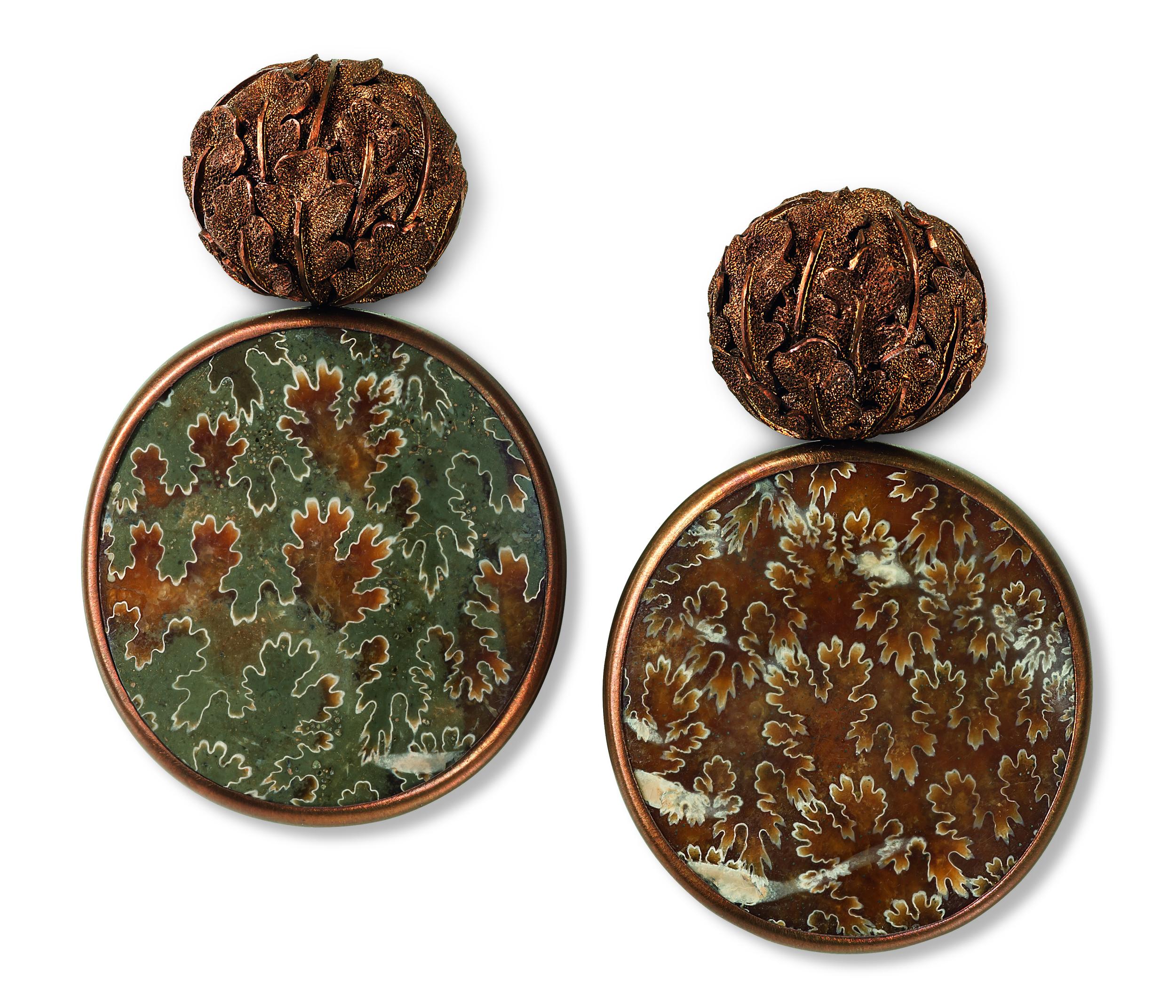 Hemmerle earrings, ammonites, copper, white gold courtesy of Hemmerle