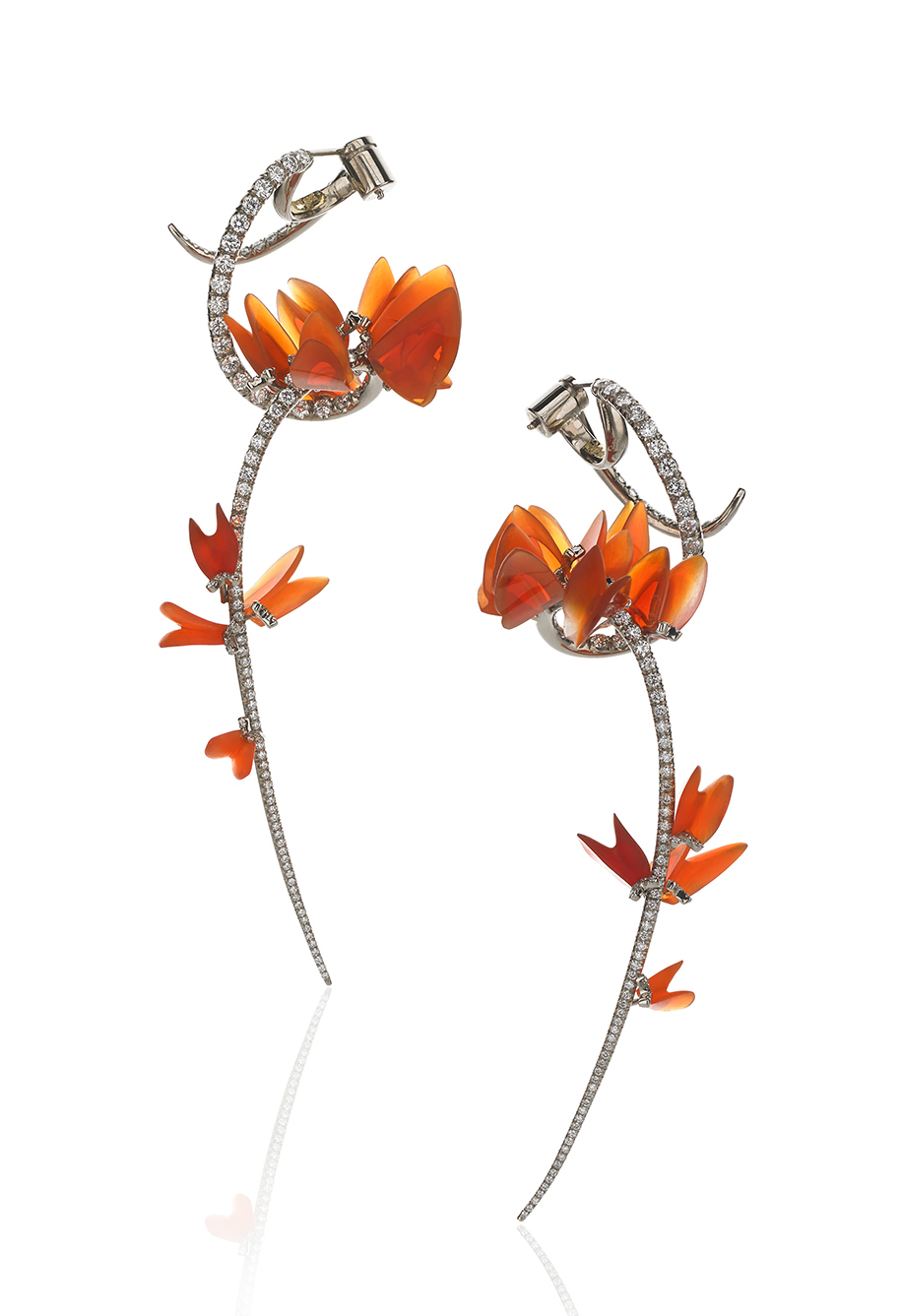 """Editors' Choice:Evening Wear Gregore Joailliers Santa Barbara, CA 18K white gold """"Sometime This Spring"""" earrings featuring Mexican fire Opals (68.88 ctw.) accented with round Diamonds (2.19 ctw.)."""