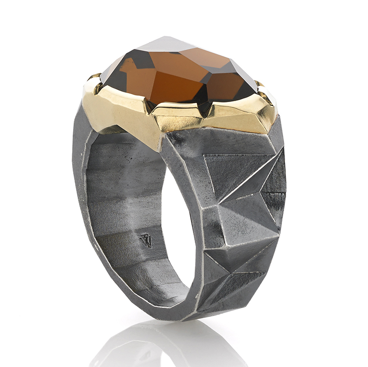 Honorable Mention:Men's Wear William Travis Jewelry Chapel Hill, NC 18K yellow gold and sterling silver ring featuring a 13.17 ct. Citrine.