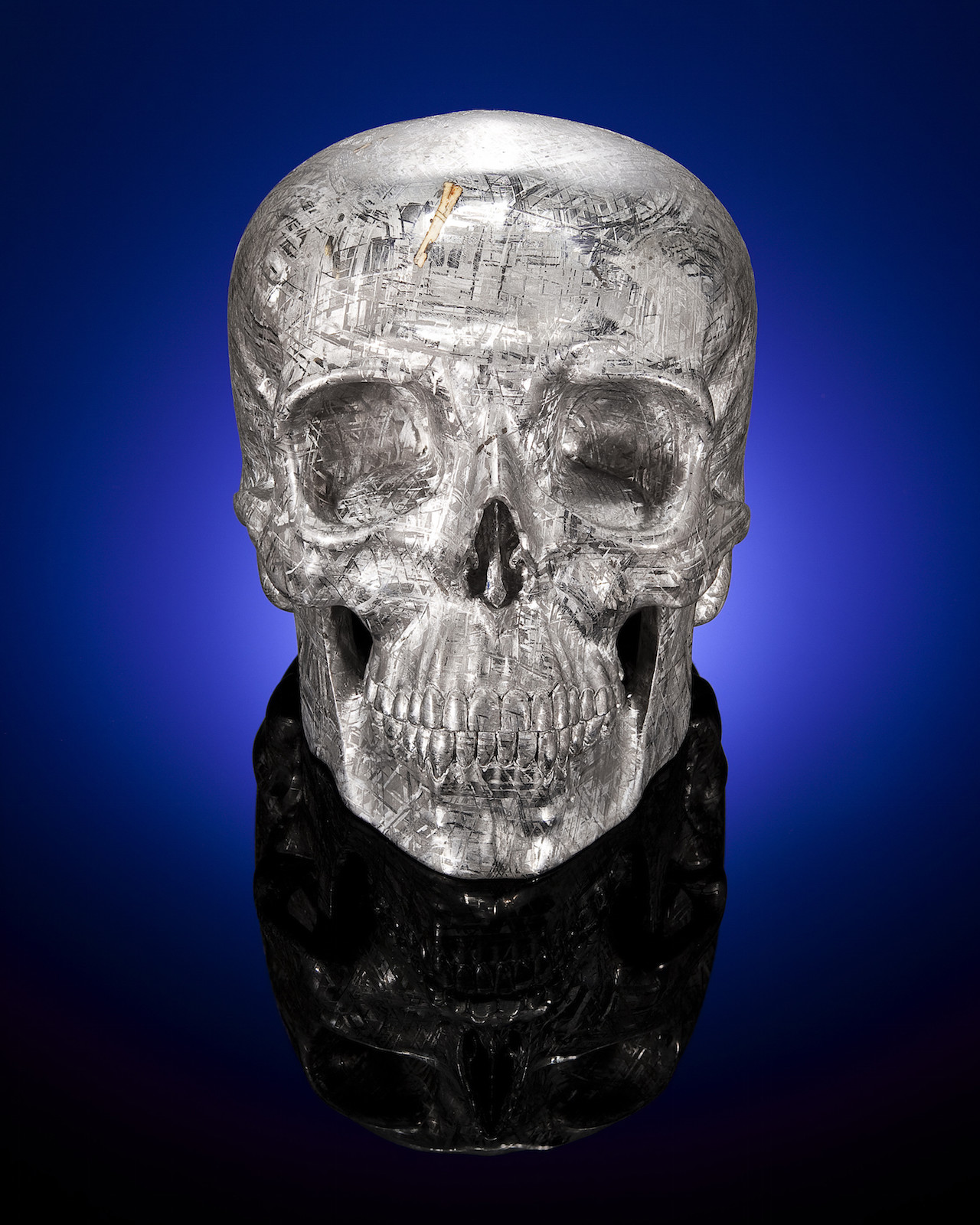 Yorick was carved by Lee Downey from a single piece of Gideon meteorite